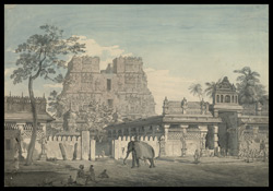 The Temple at Rameswaram, with a procession at the gate and an elephant passing. 25 January 1804